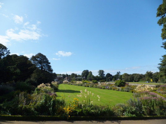 Gardens, Dirleton Castle, a magnificent medieval ruined castle, near North Berwick in East Lothian