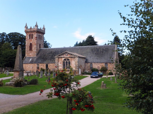 Dirleton Kirk or Church, near Archerfield is a restored old mansion, once held by the Nisbets of Dirleton, with the walled garden featuring cafe and bar, near the pretty village of Dirleton in East Lothian in southeast Scotland.