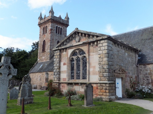 Archerfield Aisle of Dirleton Kirk or Church, near Archerfield is a restored old mansion, once held by the Nisbets of Dirleton, with the walled garden featuring cafe and bar, near the pretty village of Dirleton in East Lothian in southeast Scotland.