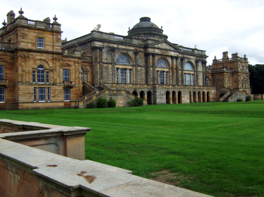 Gosford House, the large and magnificent mansion of the Earls of Wemyss, set in fantastic landscaped grounds with pleasure grounds, woodland and ponds, standing near Longniddry in East Lothian in southeast Scotland on the banks of the Firth of Forth.
