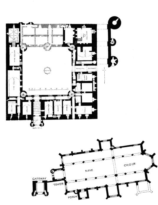 Ground floor plan, Linlithgow Palace, a large, ruinous and impressive royal residence of the monarchs of Scotland and birthplace of Mary, Queen of Scots, in a scenic location in a park with a pond in the historic burgh of Linlithgow.