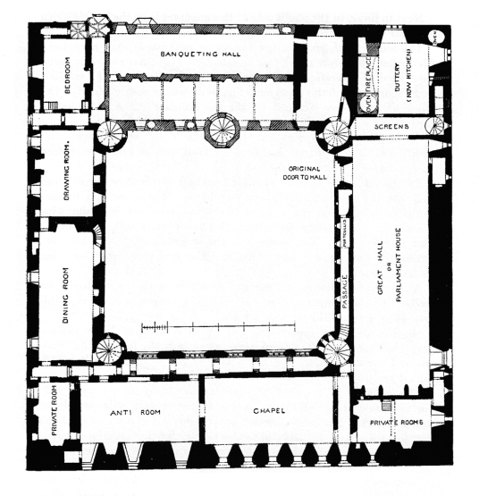 First floor plan, Linlithgow Palace, a large, ruinous and impressive royal residence of the monarchs of Scotland and birthplace of Mary, Queen of Scots, in a scenic location in a park with a pond in the historic burgh of Linlithgow.