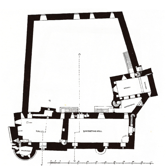First floor plan, Doune Castle, a magnificent medieval castle in a pretty spot by the River Teith, built by Robert Stewart, Duke of Albany, near Doune in Stirlingshire.
