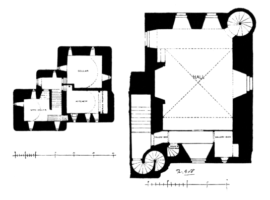 Plan of Craigievar Castle, a magnificent and imposing old tower house with a fantastic atmospheric and period interior, long held by the powerful Forbes family and set in beautiful wooded grounds in the rolling hills of Aberdeenshire near Alford in northe