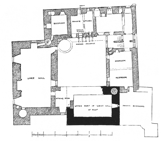 Second floor plan of Crichton Castle, a fabulous ruined medieval castle in a pretty spot above the River Tyne, held by the Crichtons, Hepburn and Stewart Earls of Bothwell, near to Pathhead and Edinburgh