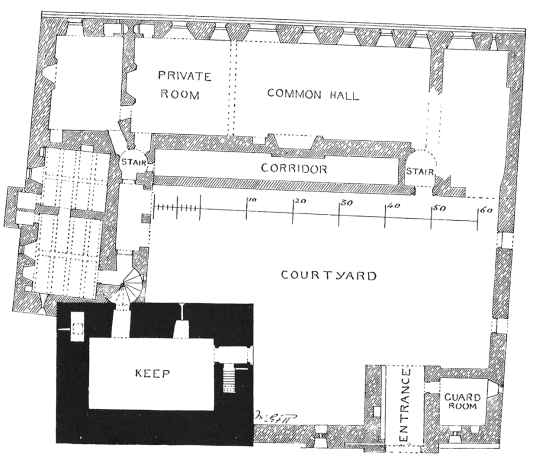 Plan of Castle Campbell, a handsome ruinous castle,  with many rooms to explore and superb views and gardens, of the great Campbell clan of Argyll in a lovely location up through the sylvan Dollar Glen.
