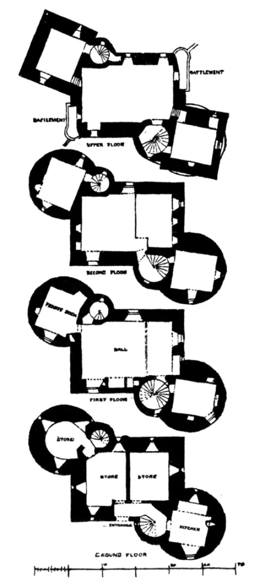Plans, Claypotts Castle, an impressive and well-preserved old tower house, built by the Strachans and owned by Graham of Claverhouse, in the West Ferry part of Dundee in eastern Scotland.