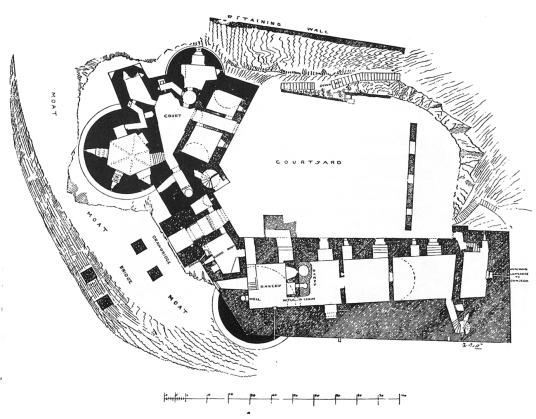 Ground floor plan of Dirleton Castle, a magnificent medieval ruined castle, near North Berwick, in East Lothian
