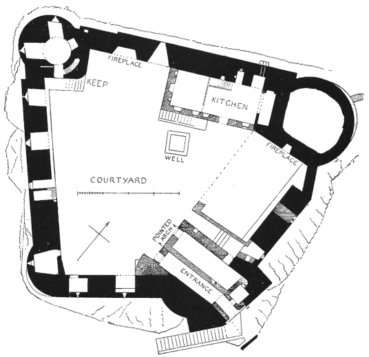 Plan of Dunstaffnage Castle, an impressive but grim old ruinous walled castle, long held by the Campbells, with later tower and atmospheric chapel in a wooded spot near Oban in Argyll.