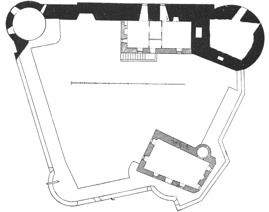 Plan of battlements, Dunstaffnage Castle, an impressive but grim old ruinous walled castle, long held by the Campbells, with later tower and atmospheric chapel in a wooded spot near Oban in Argyll.