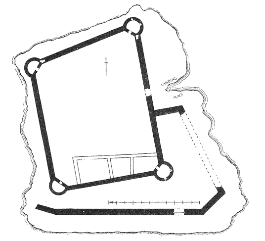 Plan of Lochindorb Castle, a scenic old ruinous castle on an island in the loch, associated with the Wolf of Badenoch, near Grantown on Spey in the Highlands of Scotland.
