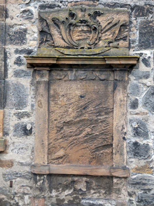 Memorial, Preston or Prestongrange Church, near Preston Tower, a tall, impressive and grim old tower house, long held by the Hamiltons and in fine gardens in Prestonpans in East Lothian in eastern Scotland.