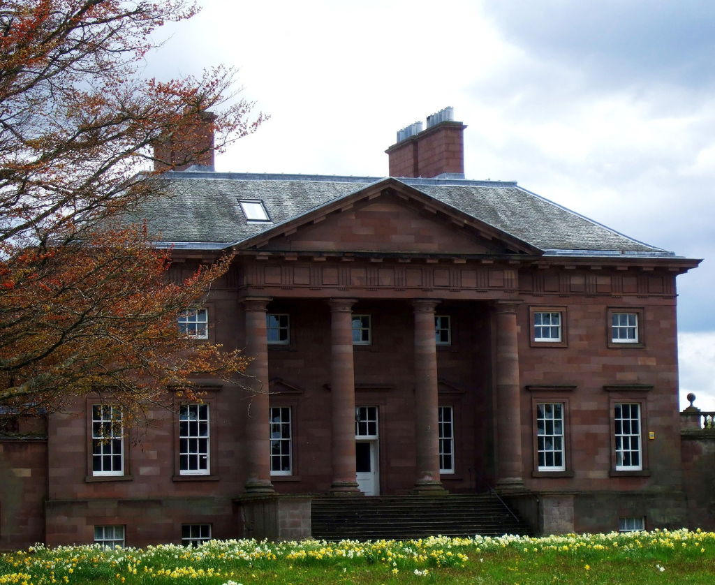 Paxton House, a fine Adam mansion, built for the Home family, with a beautiful period interior and an extensive collection of Chippendale furniture, in lovely gardens and grounds, near Berwick upon Tweed on the Scottish side of the border with England.