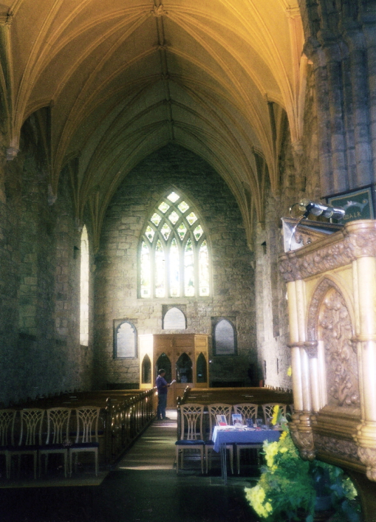 Inside of Dornoch Cathedral, by Dornoch Palace or Dornoch Castle Hotel is a fine and atmospheric old castle, long held by the Bishops of Caithness and then the Earls of Sutherland, and now a hotel, in the attractive town of Dornoch in Sutherland in the no
