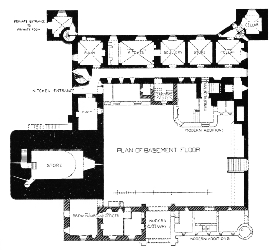 Plan of basement, Drum Castle, a fine mansion with an old tower house and an interesting interior, set in pretty gardens and grounds, long held by the Irvine or Irving family, near Banchory in Aberdeenshire in northeast Scotland.