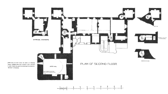 Plan of second floor, Drum Castle, a fine mansion with an old tower house and an interesting interior, set in pretty gardens and grounds, long held by the Irvine or Irving family, near Banchory in Aberdeenshire in northeast Scotland.