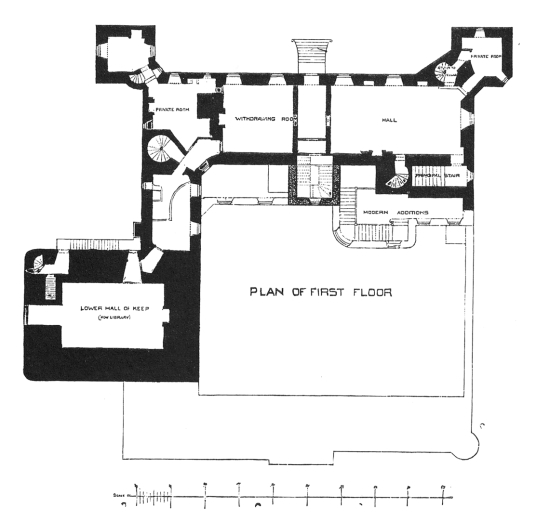Plan of first floor, Drum Castle, a fine mansion with an old tower house and an interesting interior, set in pretty gardens and grounds, long held by the Irvine or Irving family, near Banchory in Aberdeenshire in northeast Scotland.