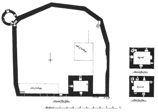 Plan of Lochleven Castle, a scenic ruinous castle of the Douglases on a wooded island in the picturesque loch, associated with Mary, Queen of Scots, and accessible from Kinross in Perthshire.