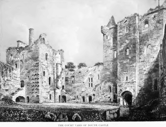 Courtyard, Doune Castle, a magnificent medieval castle in a pretty spot by the River Teith, built by Robert Stewart, Duke of Albany, near Doune in Stirlingshire.