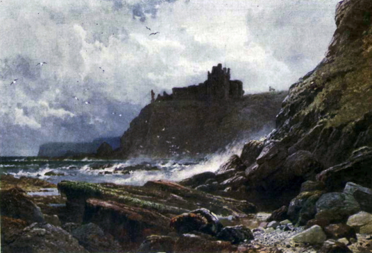 Painting of Tantallon Castle, a spectacular ruinous castle of the Douglas Earls of Angus, located in a pretty cliff top location near the East Lothian seaside town of North Berwick.