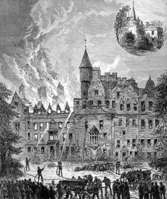 Drawing of fire of 1883, Cortachy Castle, a magnificent old castle and mansion in a pretty spot with fine gardens, long held by the Ogilvies of Airlie, and near Kirriemuir in Angus in northeast Scotland.