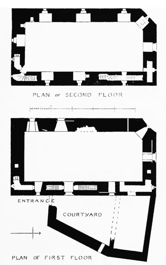Plan of Carrick Castle, an impressive old tower house in a pretty spot on the banks of Loch Goil, long held by the Campbells and near the village of Lochgoilhead in Argyll in western Scotland.