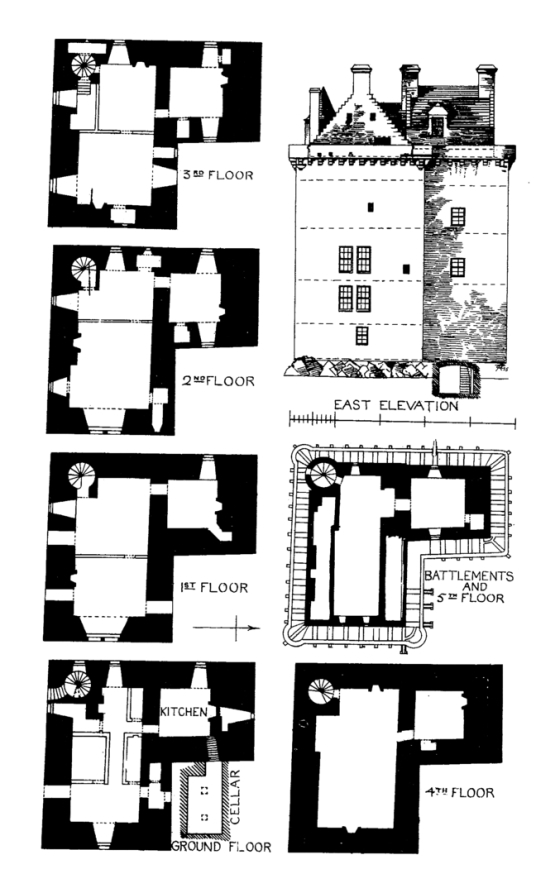 Plans of Merchiston Castle, an impressive old tower house, home to the Napiers including John Napier who invented logarithms, and now incorporated into the buildings of Napier University in Edinburgh.