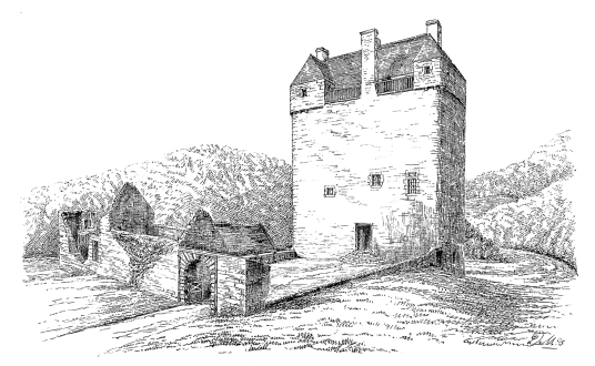 Neidpath Castle, a fine old tower and castle above the River Tweed, near Peebles