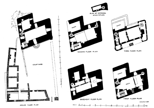 Plans, Neidpath Castle, a fine old tower and castle above the River Tweed, near Peebles
