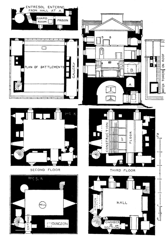 Plans and section, Comlongon Castle, a large old tower and later mansion, long a property of the Murrays, now a hotel and located in a pleasant spot near Dumfries, and site of a well-documented ghost story.