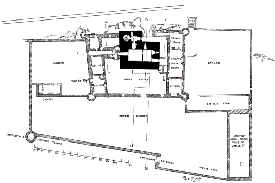 Plan of ground floor of Craigmillar Castle, a grand but ruinous castle with a large tower and two courtyards, held by the Prestons and the Gilmours, and associated with Mary Queen of Scots, in the Craigmillar area of Edinburgh.