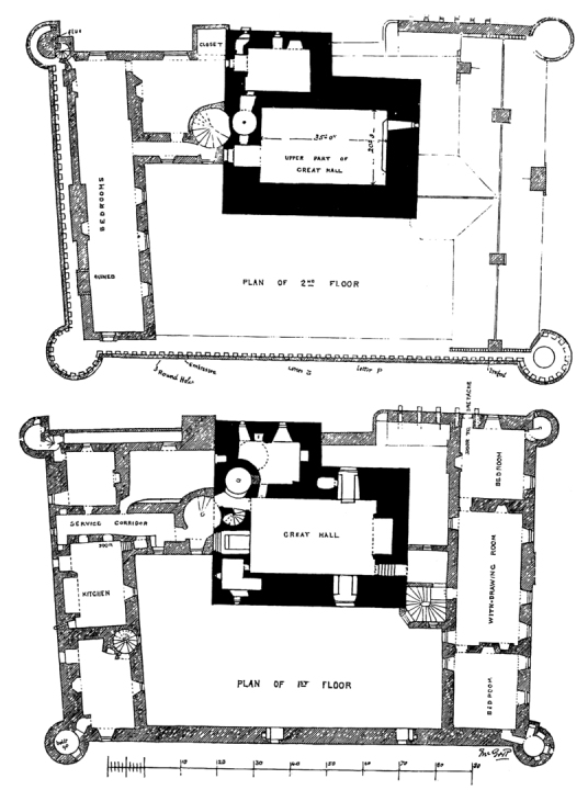 Plan of first and second floors, Craigmillar Castle, a grand but ruinous castle with a large tower and two courtyards, held by the Prestons and the Gilmours, and associated with Mary Queen of Scots, in the Craigmillar area of Edinburgh.