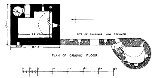 Plan of ground floor of Burleigh Castle, an interesting old medieval ruinous stronghold, near Kinross in Perthshire and held by the Balfour family for many generations.