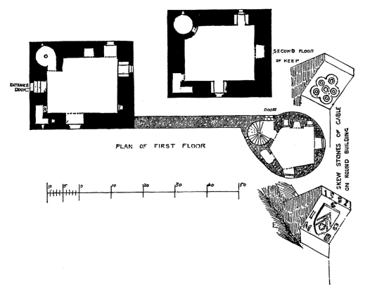 Plan of upper floors, Burleigh Castle, an interesting old medieval ruinous stronghold, near Kinross in Perthshire and held by the Balfour family for many generations.