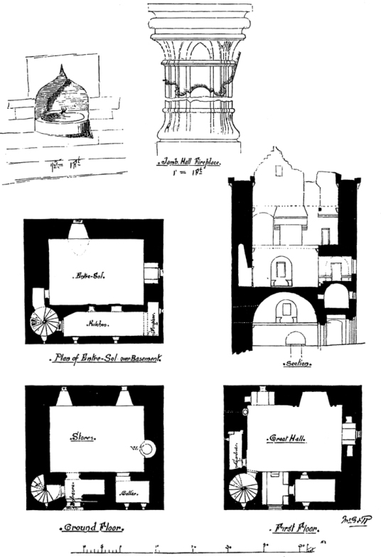 Plans and section, Sauchie Tower, an old tower house of the Bruce family near Alloa in Clackmannanshire in central Scotland.
