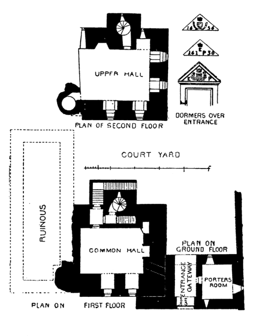 Plan of Drummond Castle , an impressive old castle and later mansion with spectacular formal gardens, long held by the Drummond family and near Muthil in Perthshire.