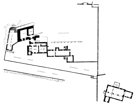 Plan of ground floor of Aberdour Castle, a scenic old stronghold castle with gardens and orchard of the Douglas Earls of Morton, in the pretty village of Aberdour in Fife.