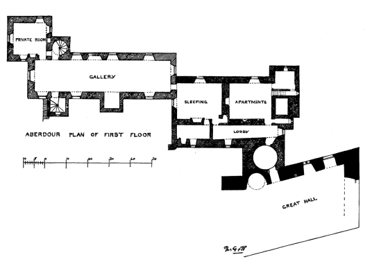 Plan of first floor, Aberdour Castle, a scenic old stronghold castle with gardens and orchard of the Douglas Earls of Morton, in the pretty village of Aberdour in Fife.