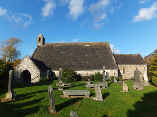 St Fillan's Church, by Aberdour Castle, a scenic old stronghold castle with gardens and orchard of the Douglas Earls of Morton, in the pretty village of Aberdour in Fife.