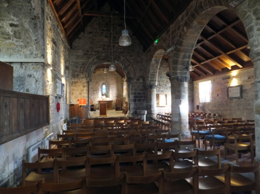 Interior of St Fillan's Church, by Aberdour Castle, a scenic old stronghold castle with gardens and orchard of the Douglas Earls of Morton, in the pretty village of Aberdour in Fife.