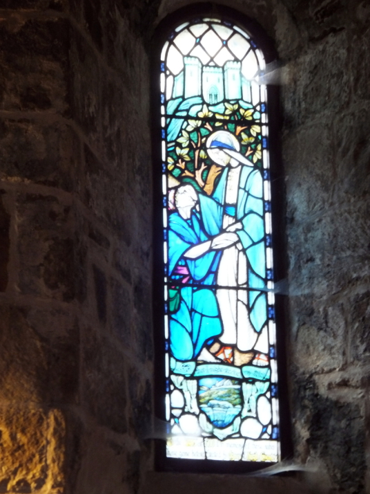 Coventry window, St Fillan's Church, Aberdour Castle, a scenic old stronghold castle with gardens and orchard of the Douglas Earls of Morton, in the pretty village of Aberdour in Fife.