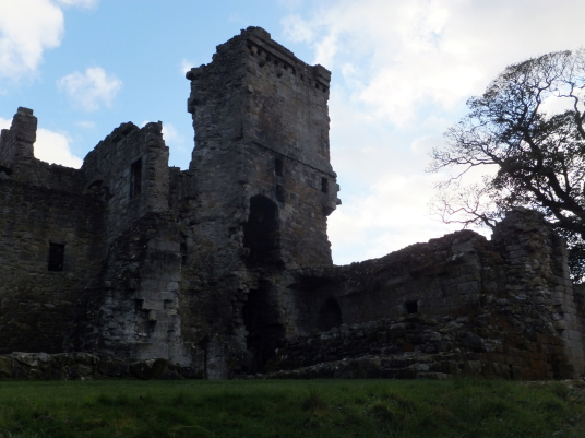 Aberdour Castle, a scenic old stronghold castle with gardens and orchard of the Douglas Earls of Morton, in the pretty village of Aberdour in Fife.