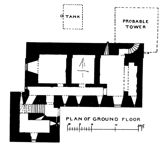Plan of Finlarig Castle, an atmospheric overgrown ruinous old tower house with a derelict mausoleum in a pretty wooded spot, built by the Campbells and at Killin in Stirlingshire in central Scotland.