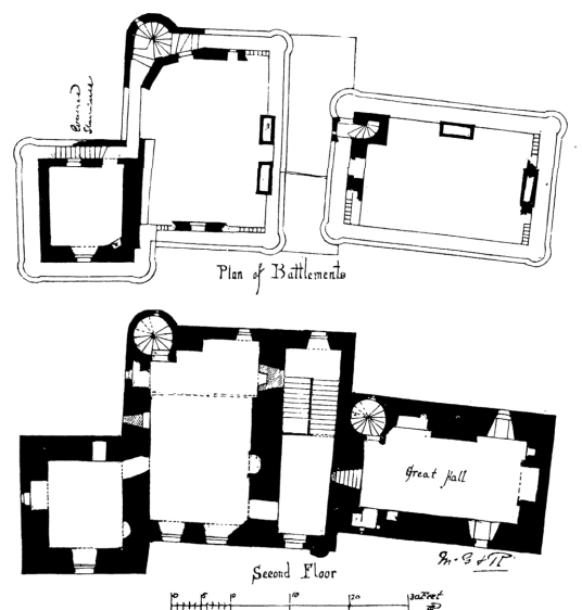 Plans of upper floors, Huntingtower Castle is a handsome and atmospheric old castle and mansion near Perth in central Scotland, once home to the Ruthven Earls of Gowrie, then held by the Murrays, near Perth.