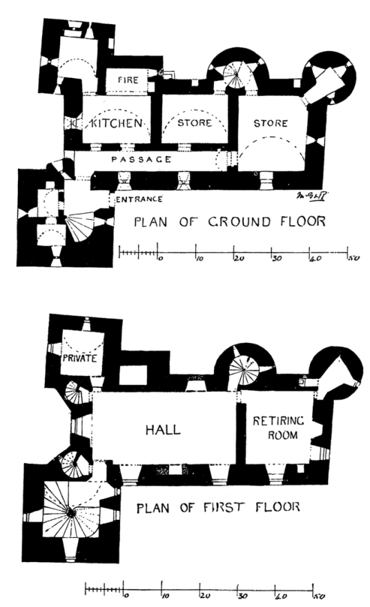 Plans, Elcho Castle, a well-preserved large castle in a pretty spot, the hall is a particularly fine chamber, long held by the Wemyss family, near Bridge of Earn and Perth.