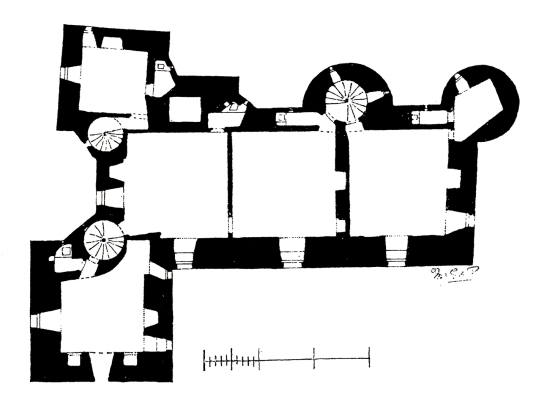 Plan of second floor, Elcho Castle, a well-preserved large castle in a pretty spot, the hall is a particularly fine chamber, long held by the Wemyss family, near Bridge of Earn and Perth.