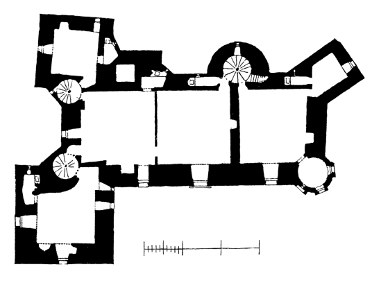 Plan of third floor, Elcho Castle, a well-preserved large castle in a pretty spot, the hall is a particularly fine chamber, long held by the Wemyss family, near Bridge of Earn and Perth.