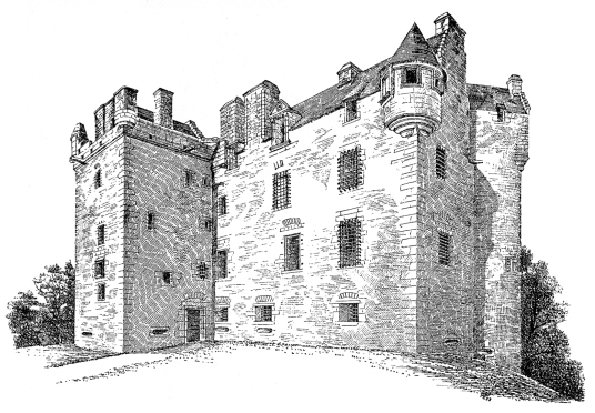 Elcho Castle, a well-preserved large castle in a pretty spot, the hall is a particularly fine chamber, long held by the Wemyss family, near Bridge of Earn and Perth.