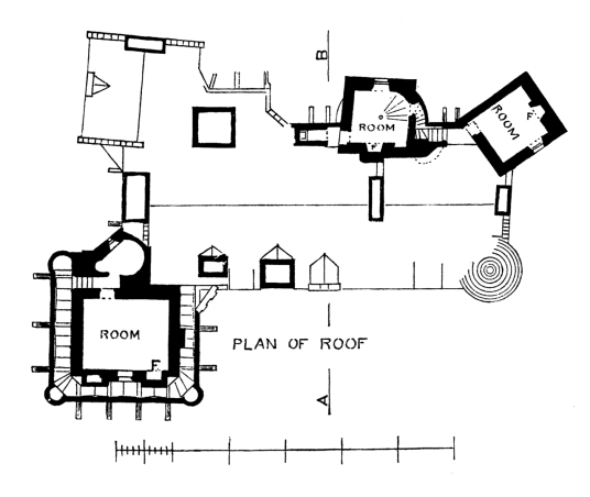 Plan of roof level, Elcho Castle, a well-preserved large castle in a pretty spot, the hall is a particularly fine chamber, long held by the Wemyss family, near Bridge of Earn and Perth.