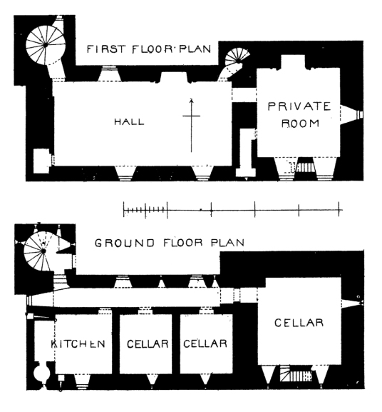 Plans, Carnasserie Castle, an imposing and atmospheric old ruinous castle and hall house above the road, built by John Carswell, Bishop of the Isles, and later held by the Campbells, near Kilmartin in Argyll on the west coast of Scotland.